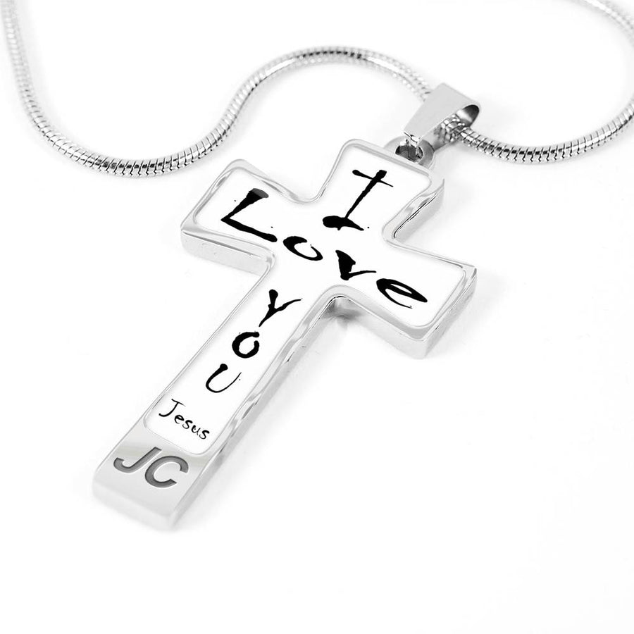 Jesus Cross Necklace I Love You Black on White