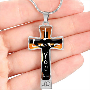 Silver Cross Necklace - I Love You  - Jesus on Cross Silver Cross Necklace