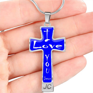 Jesus Cross Necklace I Love You White on Blue