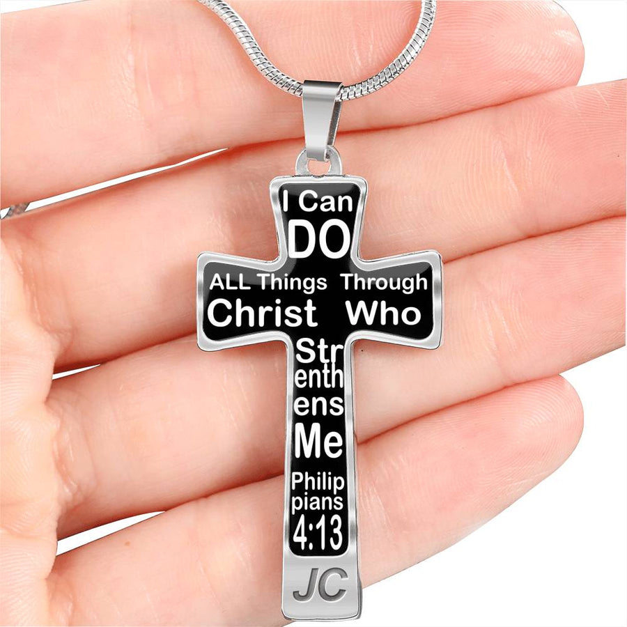 "Christian cross necklace Hand made Silver Cross Necklace ""I can Do all Things"" scripture"
