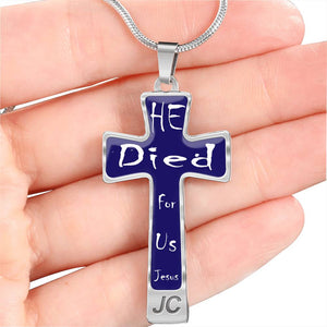 Jesus Cross Necklace He Died for us Dark Blue