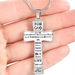 CROSS NECKLACE WITH LUXURY CHAIN AND FREE ENGRAVING JOHN 3:16 CROSS NECKLACE