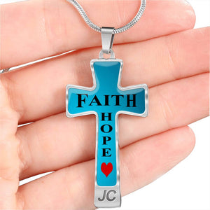 Faith Hope Cross Necklace with Free Engraving