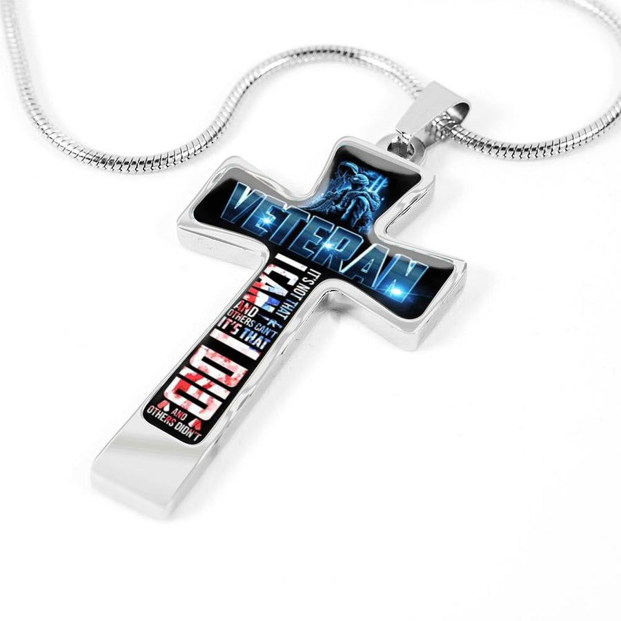 Silver Veteran's Memorial Cross Necklace | Veterans Cross Necklace