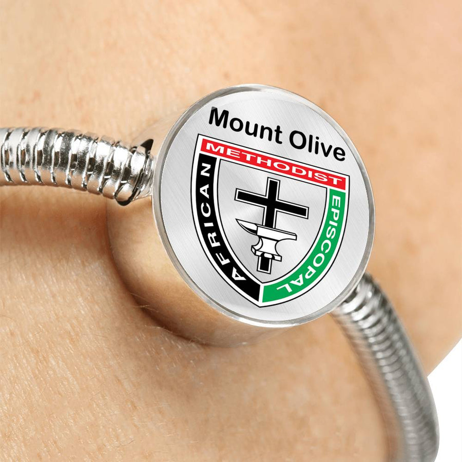 Mount Olive Stainless Silver Pandora Style Bracelet Charm AME African Methodist Episcopal Jewelry