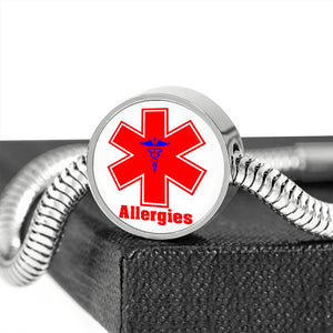 Women's Medical Alert ID Bracelet for Allergies | Allergy Medical Alert Bracelet Red