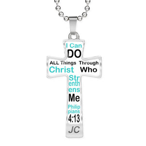 Cross Necklace for her Steel polished glass Personalized Cross necklace ball chain - Free Shipping