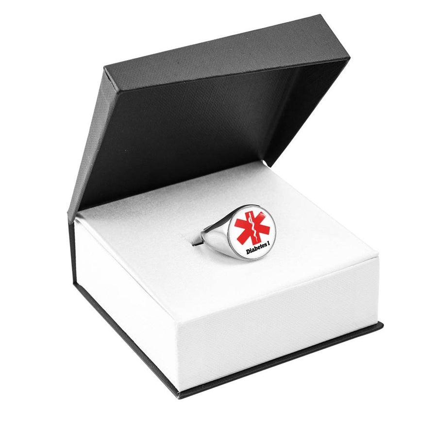 Women's Medical Alert ID Diabetes Ring Diabetes Ring type 1 for Men and Women