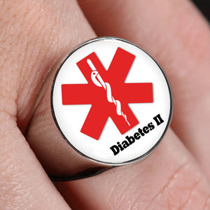 Women's Medical Alert ID Diabetes Ring Diabetes Ring type 2 for Men and Women