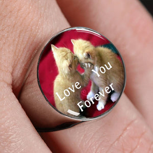A special Love You Forever Cat Silver Signet Ring