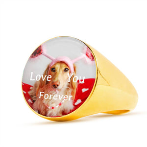 Love Golden Retriever Signet Men's 18k Gold Ring Love You Forever