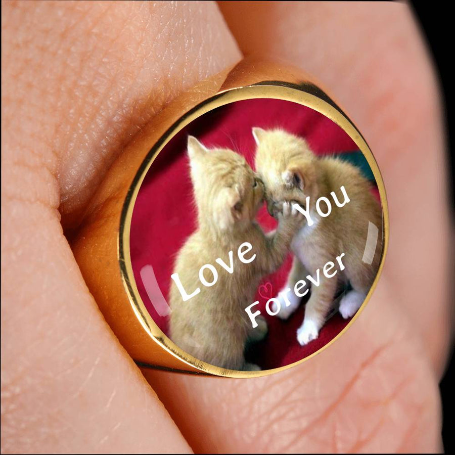 A special Love You Forever Cat 18k Gold Plated Signet Ring