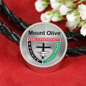 Mount Olive Stainless Steel Silver Pandora Style Leather Bracelet Charm AME African Methodist Episcopal Jewelry