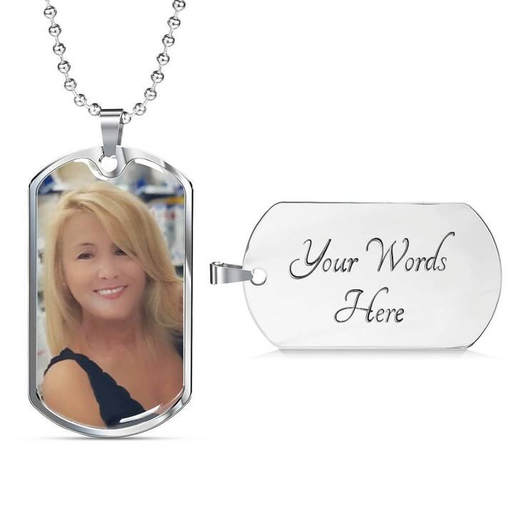 Customized dog tags - Personalize Dog tag with engraving Grab this Silver Dog Tag for your loved one with engraving on back. Upload your photo