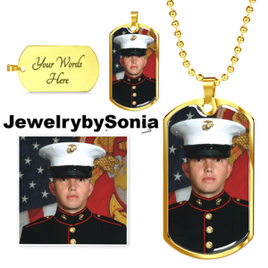 Customize this Gold plated Dog Tag for your loved one with engraving on back. Uploaded your photo