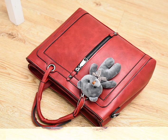 Luxury Women Leather Handbag Red Retro Vintage Bag Designer Handbags High Quality
