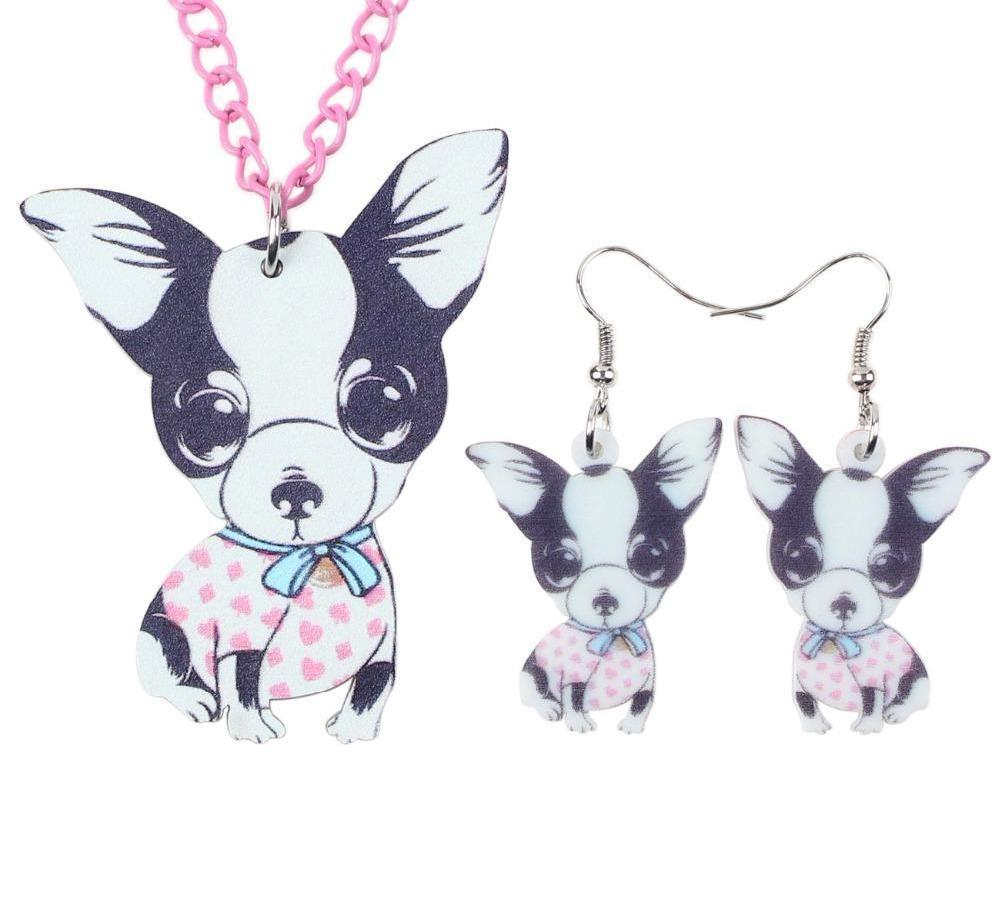 New Edition 2018 Acrylic Chihuahua Necklace Earring Set Choker Collar Fashion Women and Girls