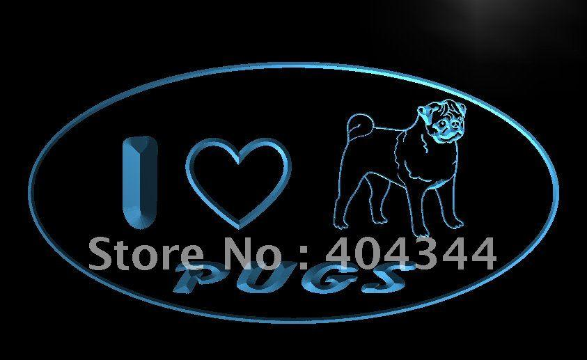 LK231- I Love Pug Dog Pet    LED Neon Light Sign    home decor  crafts