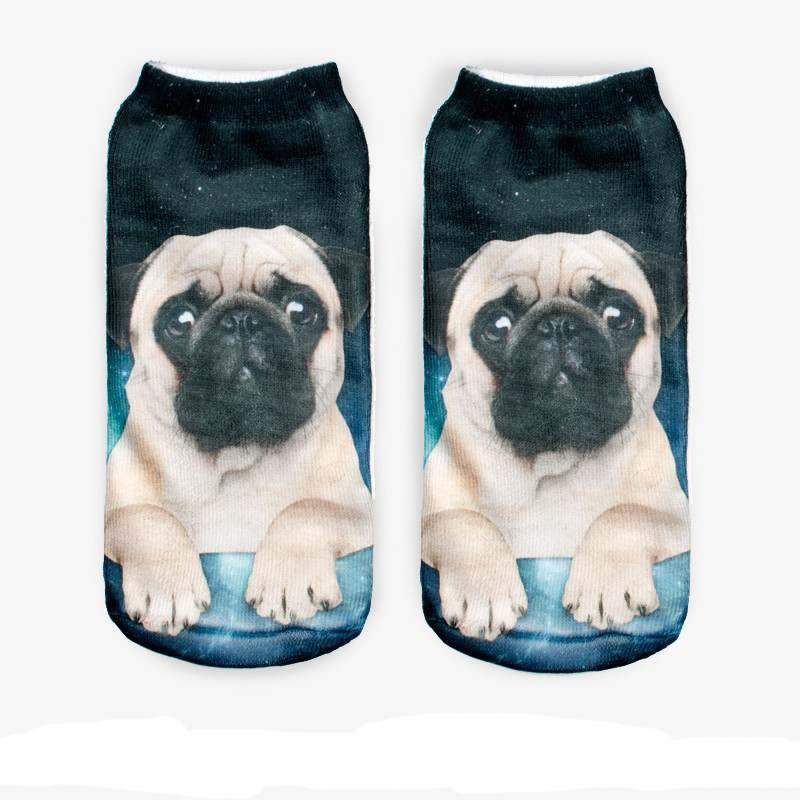 3-D socks women children men Pug Dog Socks Casual Low Cut Ankle Socks