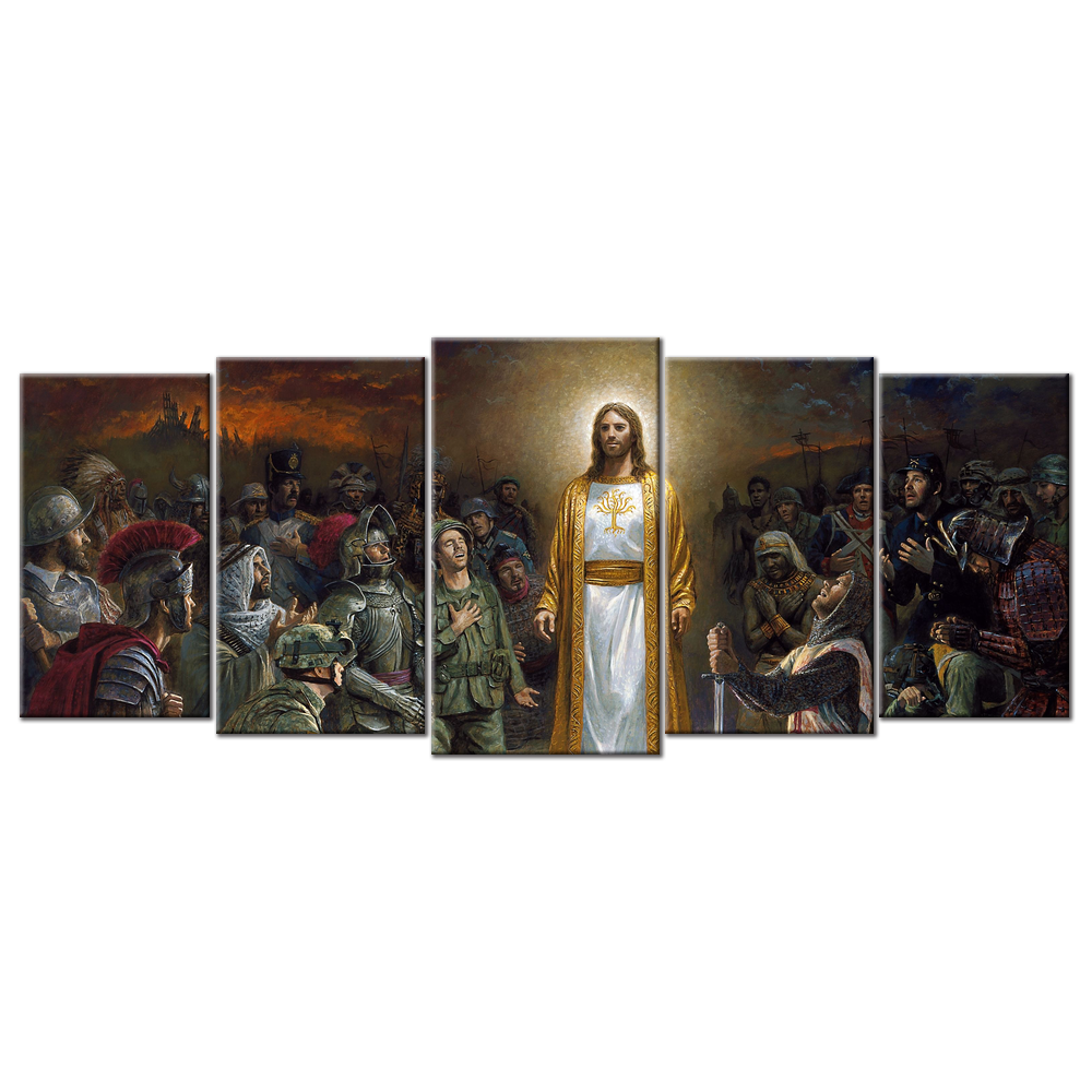Jesus With Different Soldiers- 5 panels XL