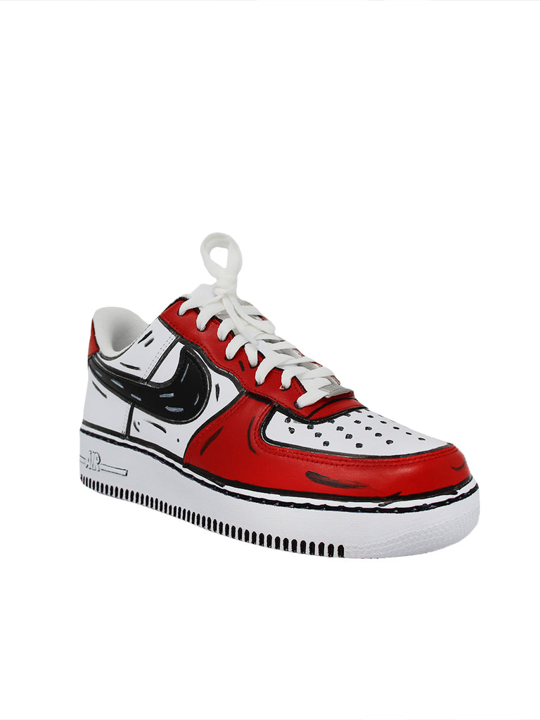 NIKE/LABORATORIO17 Air force 1 cartoon white leather sneakers