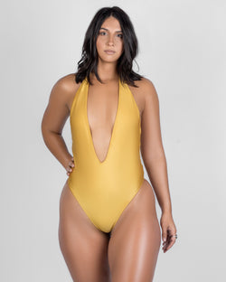 Tidal Yellow- One Piece Halter