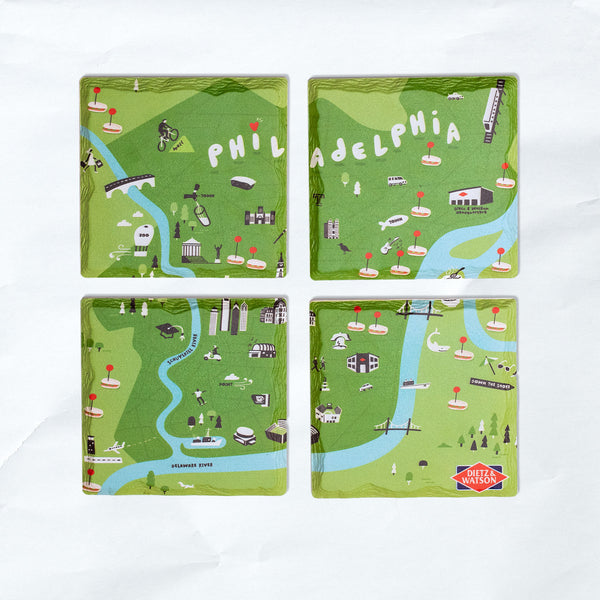 stone map coaster set