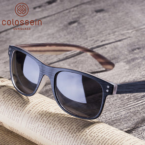 Square Wood Grain Frame Polarized Stylish Sunglasses