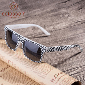Square Black and White Mens Designer Sunglasses