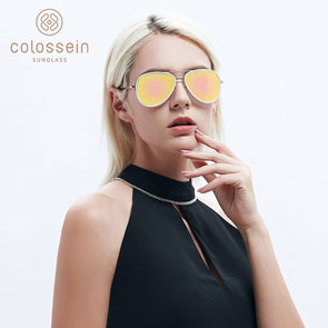 Yellow Coating Pilot Metal Frame Stylish Sunglasses for Women