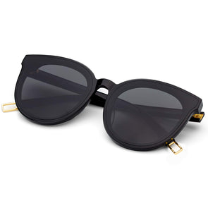 Retro Oversized Cat Eye Sunglasses for Women Nylon Coating Lens Acetate Frame UV400 (Black)