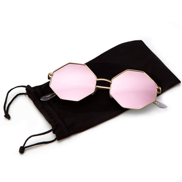 Hipster Polygon Sunglasses For Women Delicate Metal Frame Candy Color UV400 Lens (Pink)