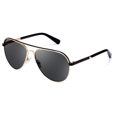Polarized Aviator Sunglasses for Men Women Stainless Steel Frame UV400 Lenses Driving Outdoor Eyewear (Grey + Gold, 55)