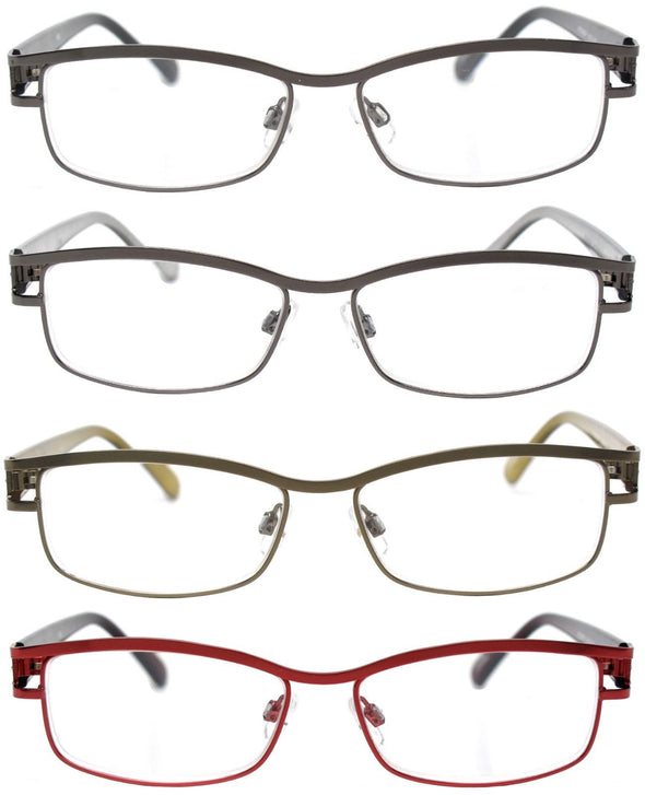 Reading Glasses Readers Metal Deluxe Rectangular Frame Business Occasion - myglassesmart.com