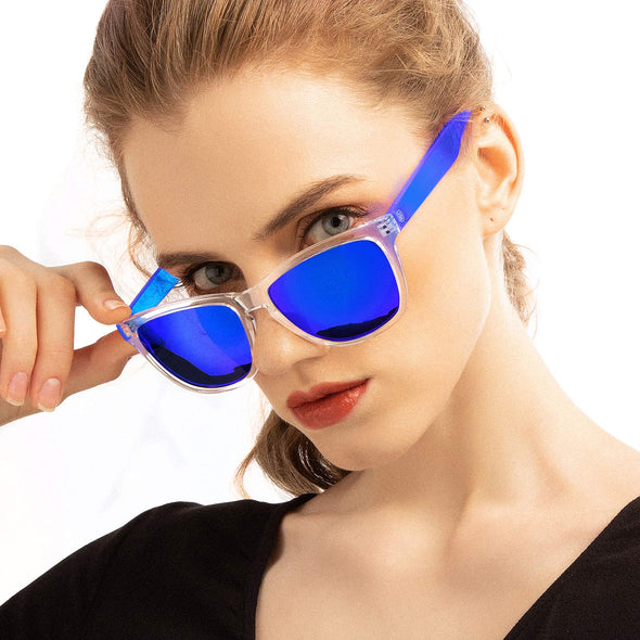 COLOSSEIN Fashion Sunglasses for Women,100% UVA/UVB Protection Mirrored Lens,FDA Standard Glasses (Blue, 55)