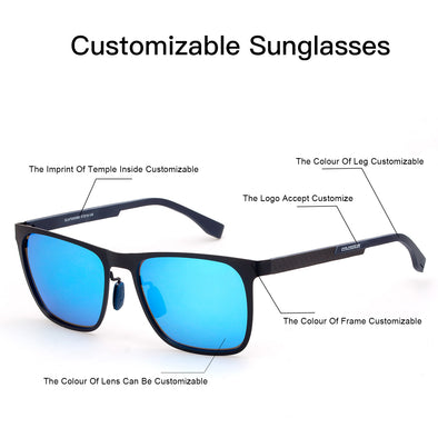 Customizable Unisex Sunglasses Metal Frame Carbon Fiber Temple With Polarized Lenses - myglassesmart.com