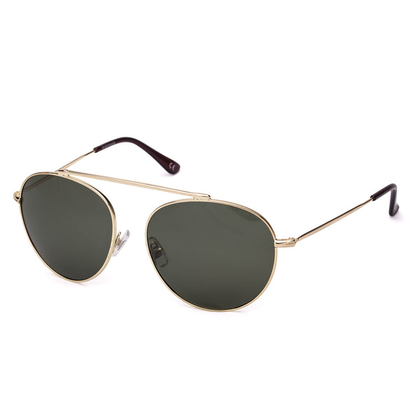 Oval Green Vintage Pilot Metal Frame Stylish Sunglasses