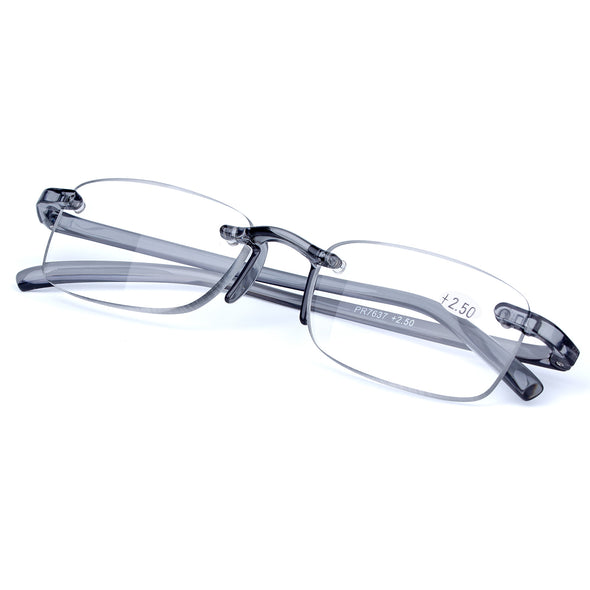 Reading Glasses Readers Deluxe Rectangular Rimless - myglassesmart.com