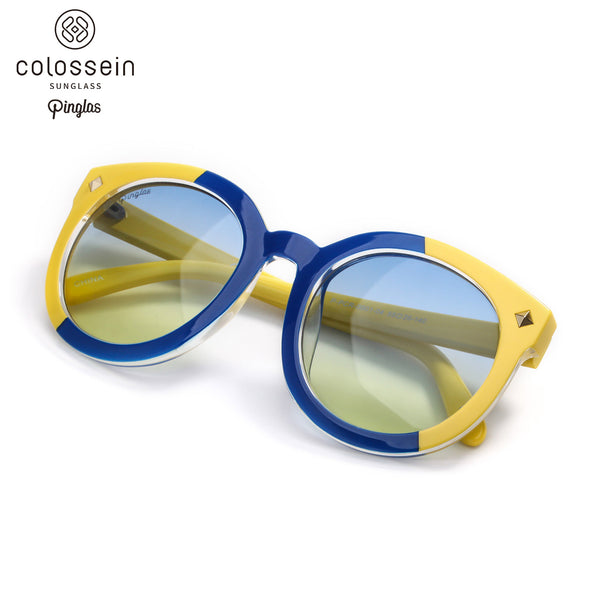 PINGLAS  Classic Round Fashion Sunglasses  with mirror coating 100% UV protection Lens - myglassesmart.com