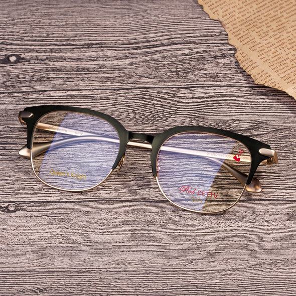 RED CETTU Design Fashion Half frame Optical Glasses with Metal Frame & Acetate Leg RC006 - myglassesmart.com