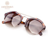Brown Lens Vintage Round Half Frame Stylish Sunglasses