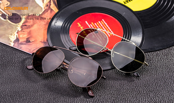 Oval Brown Vintage Pilot Metal Frame Stylish Sunglasses