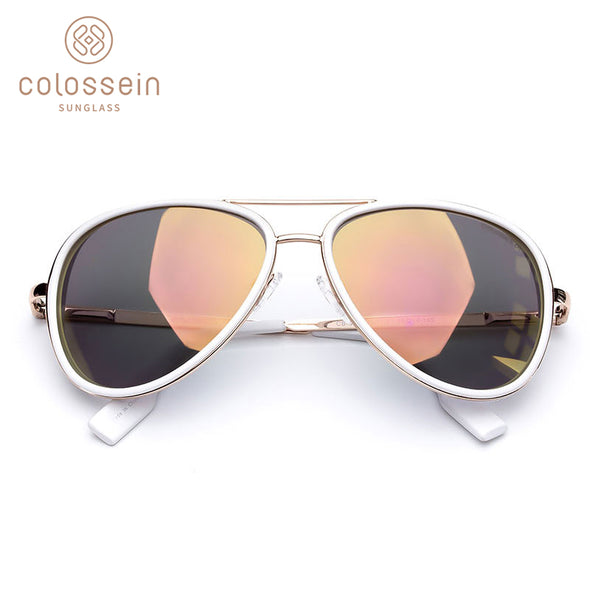 White Coating Pilot Metal Frame Stylish Sunglasses for Women