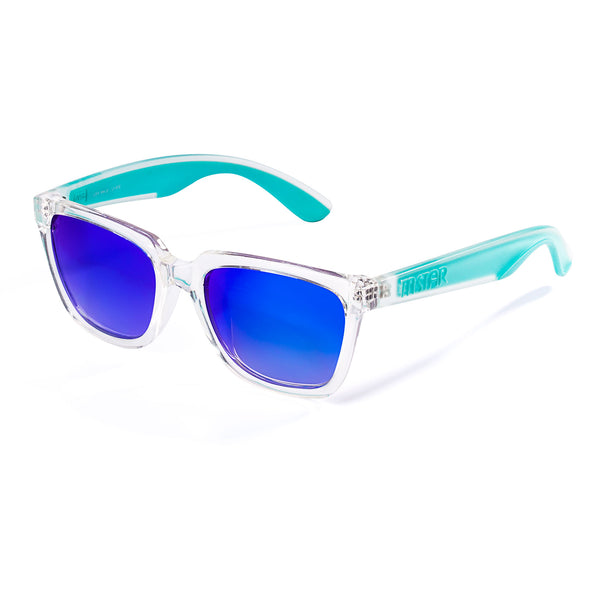 Square White&Green Frame with Blue Mirrored Lens Mens Designer Sunglasses