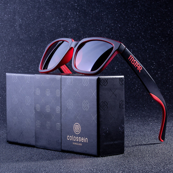 Square Black&Red Mens Designer Sunglasses