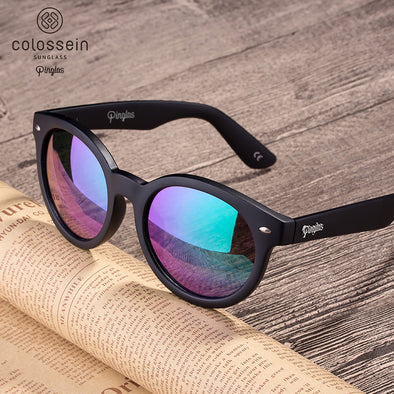 PINGLAS  Classic Round Fashion Sunglasses  with mirror coating 100% UV protection Lens P-PCR-0002 - myglassesmart.com