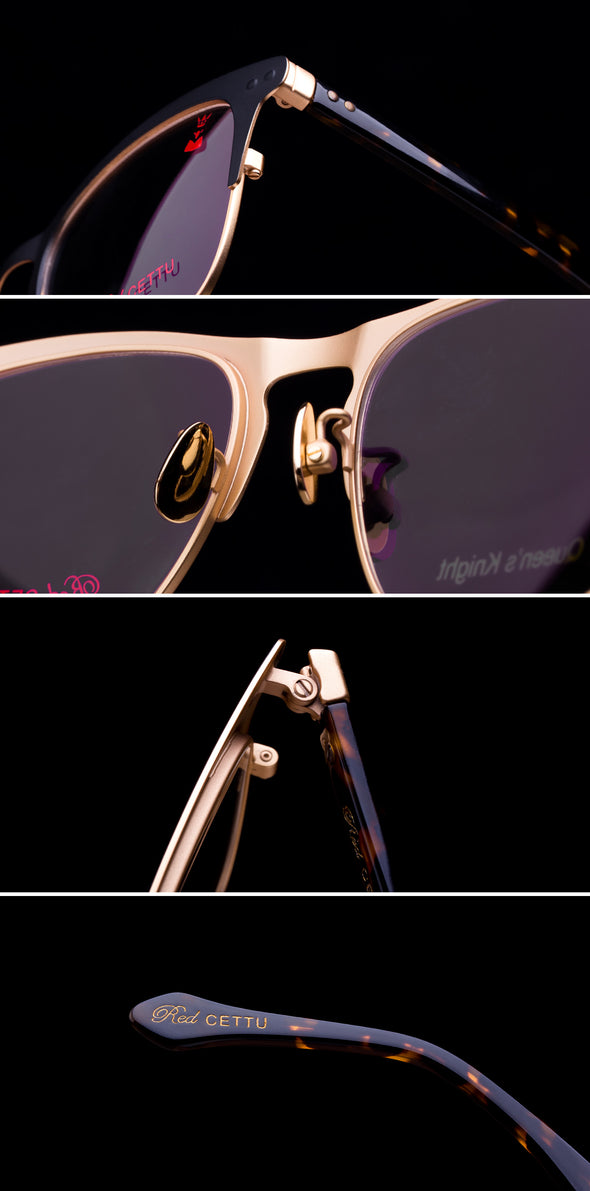 RED CETTU Design Fashion Square Optical Glasses with Metal Frame & Acetate Leg RC004 - myglassesmart.com