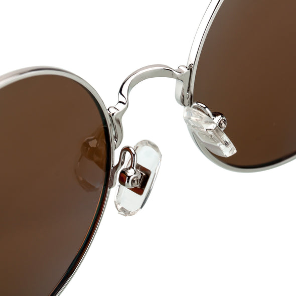 Round Brown Metal Frame Stylish Sunglasses for Women