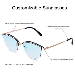 Customizable Rimless Frame sunglasses Mirror UV protection Lens with light-weight metal leg - myglassesmart.com