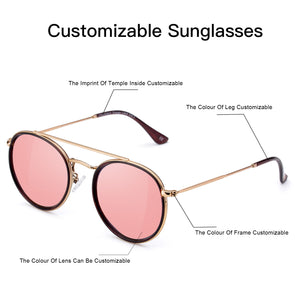 Customizable Round Sunglasses sight-weight TR90  with metal Frame with pink mirror Polarized  Lens - myglassesmart.com